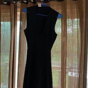 Express Long Black V-neck Open Back Dress- Large